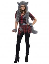 Wildes Werwolf-Kostüm für Damen Halloween rot-grau