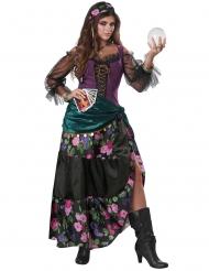 Magierin-Hellseherin-Kostüm für Damen Halloween grün-lila