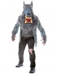 Wildes Werwolf-Kostüm für Herren Halloween-Verkleidung grau-rot