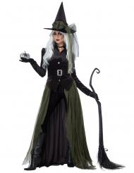 Dunkles Gothic-Hexenkostüm für Damen Halloween grün-schwarz