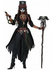 Exklusives Voodoo-Kostüm für Damen Halloween-Verkleidung schwarz-braun