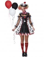 Extravagantes Horror-Clown-Kostüm für Damen Psycho schwarz-weiss-rot