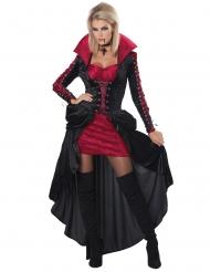 Elegantes Vampir-Kostüm für Damen Halloween-Verkleidung schwarz-rot
