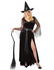Düstere Hexe Damenkostüm für Halloween schwarz