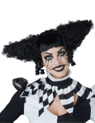 Verrückte Horrorclown-Perücke für Damen Halloween-Zubehör schwarz