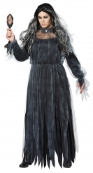 Zombie-Braut Halloween Damenkostüm in großer Größe grau