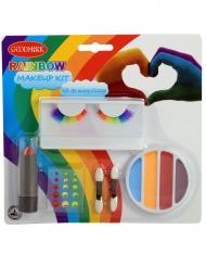 Regenbogen Make-up-Set mit künstlichen Wimpern 6-teilig bunt