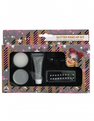 Glitzer Make-up Kit 5-teilig silberfarben