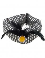 Orientalischer Turban mit Pailletten und Federn Kopfschmuck silber-schwarz