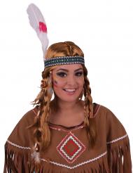 Indianer-Perücke mit Haarschmuck Kostüm-Accessoire rotblond