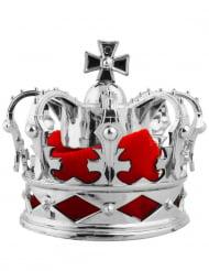 Haarschmuck mit Miniatur Krone Accessoire für Damen silber-rot