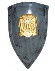 Mittelalterliches Ritterschild Kostüm-Zubehör grau-gold 75 x 45 cm
