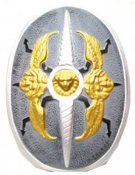 Ritter-Schild für Kinder mit Engel und Löwe grau-gold 40x60cm