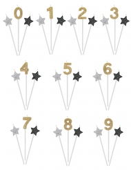 Jubiläums-Set für Geburtstage 3-teilig Sterne und Zahl gold-silber-schwarz 16 cm