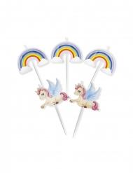 Einhorn und Regenbogen-Kerzen Kuchendeko 5-teilig bunt 8 cm