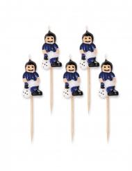 Fußballer-Kuchendekoration Kerzen 5 Stück blau-weiss 8 cm