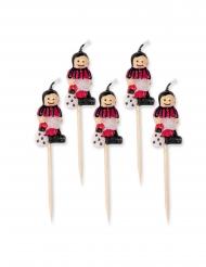 Fussball-Kerzen Piekser Partydeko 5 Stück rot-schwarz-weiss 8 cm