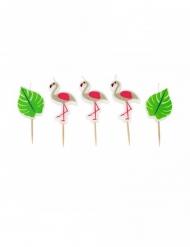 Flamingo-Kerzen für Geburtstage Sommerparty 5-teilig pink-grün 5,5 x 3,5 cm