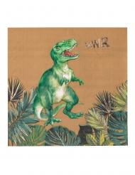16 Dinosaurier Servietten braun-grün-gold 33 x 33 cm