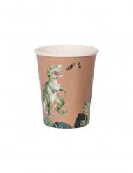 Dinosaurier-Pappbecher Partyzubehör 8 Stück braun-grün 250 ml