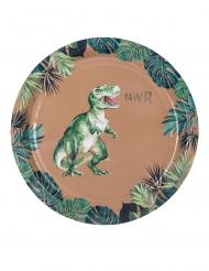 Dinosaurier-Pappteller Tischzubehör 8 Stück grün-braun 23 cm