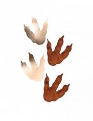 6 Dinosaurier Fußspuren Partydeko braun-gold 15,5 x 13,5 cm