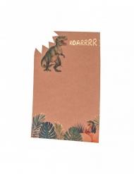 8 Dinosaurier EInladungskarten braun-grün 18 x 12 cm