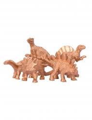 5 Dinosaurier Dekofiguren gold 6 x 1,5 cm