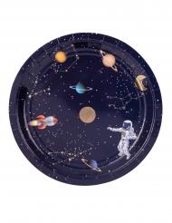 Weltraum-Pappteller Tischzubehör 8 Stück bunt 23 cm