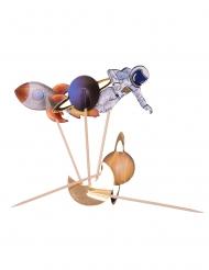 Astronauten-Backzubehör Kuchendekoration 20-teilig bunt 12,5 cm