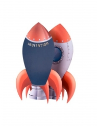 Einladungskarten mit Raketen-Motiv 8 Stück rot-blau-grau 18 x 11,5 cm