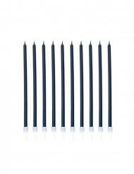 Geburtstagskerzen dunkelblau 10 Stück 15 cm