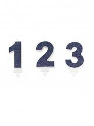 Geburtstagskerze Zahl dunkelblau Glitzer 7,3 cm