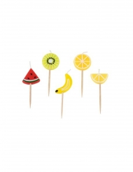 Motiv-Kerzen mit Früchte Tischdekoration 5 Stück bunt 2 x 5 x 2,5 cm