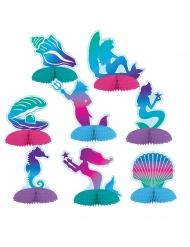 Meerjungfrau-Figuren aus Papier 8-teilig bunt 7 - 10 cm