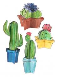 Kaktus-Tischdekoration für Mottopartys 4 Stück bunt 10 - 28 cm