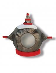 Roboter Helm für Kinder aus Stoff grau-rot