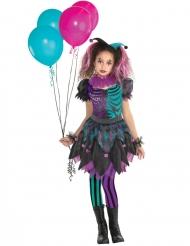 Fantasievolles Harlekin-Kostüm für Mädchen lila-schwarz-blau