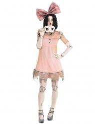 Gruseliges Puppen-Kostüm für Damen Halloween rosa-weiss