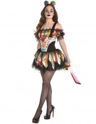 Extravagantes Horrorclown-Kostüm für Damen bunt