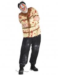Psycho-Clown Horror-Kostüm für Herren Halloween beige-braun-rot