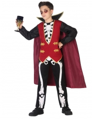 Vampir-Skelett-Kostüm für Jungen Halloween-Verkleidung schwarz-rot-weiss
