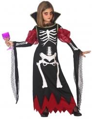 Skelett-Kostüm für Mädchen Halloween-Verkleidung schwarz-rot