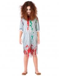 Zombie-Kostüm für Mädchen Halloween-Verkleidung grün-rot