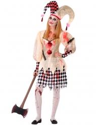 Blutiges Harlekin-Kostüm für Damen Horror-Verkleidung beige-weiss-rot