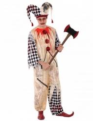 Blutiges Harlekin-Kostüm für Jugendliche Halloween beige-weiss-rot