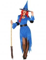 Hexen-Kostüm für Damen Nordhexe Halloween blau-schwarz