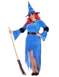 Magische Hexe Damenkostüm Übergröße schwarz-blau