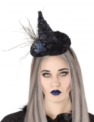 Miniatur-Hexenhut mit Haarreif Halloween-Accessoire schwarz-lila