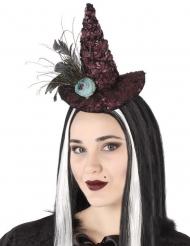 Hexenhut auf Haarreif Kostüm-Accessoire für Damen dunkelrot